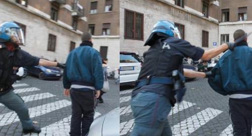 Manifestazioni contro Austerity: poliziotto colpisce manifestante alle spalle